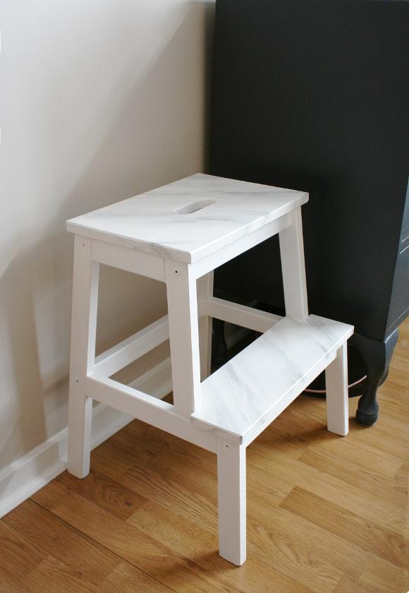 Ikea bekvam step stool gets a faux marble makeover the interior diyer - Ikea portaspezie bekvam ...