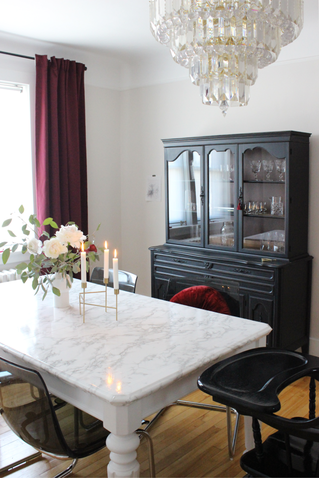 Updating (and childproofing) our secondhand dining table with faux marble contact paper