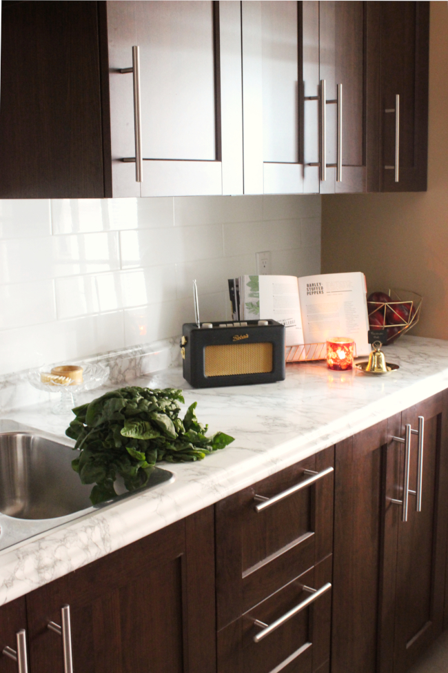 DIY contact paper kitchen counters